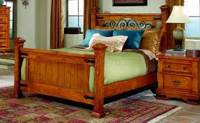 Western Room Decor Pine Finish Western Classic Bedroom W Metal Accents