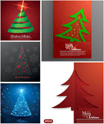 vector christmas greeting card with christmas trees vector