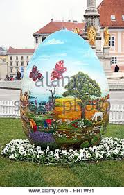 big easter eggs big easter eggs in front of the cathedral 3 zagreb 2016 stock