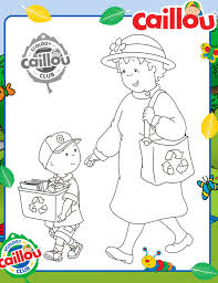 caillou earth month u0027s recycle coloring sheet caillou