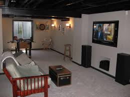 decor exposed beams and wall mount tv with settee sofa also trunk