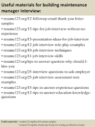 Building Maintenance Resume Examples by Top 8 Building Maintenance Manager Resume Samples