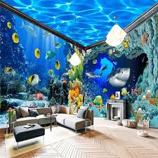 chambre aquarium beibehang monde sous marin aquarium thème toile de fond personnalisé