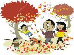 imagenes animadas de otoño dibujos animados de vector de familia africana feliz caminar al aire