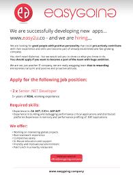 sample resume for c net developer jobs easy2u easy2u limited