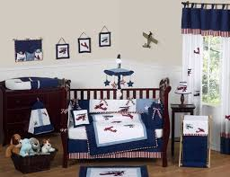 red white and blue vintage aviator airplane baby bedding 9 pc