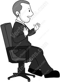 side view of a man sitting in an office chair cartoon clipart