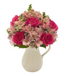 pitcher of roses pink roses pink bouquet fromyouflowers