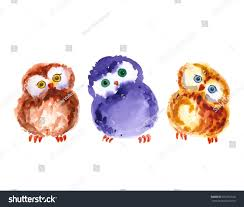 pattern watercolor colorful funny owls watercolor stock