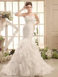 milanoo robe de mari e ivory mermaid court organza bridal wedding gown with