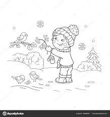 coloring outline cartoon boy feeding birds winter