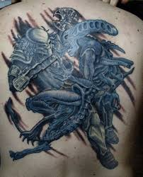 blue and grey ink upper back cover up with classy fighting alien