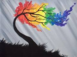q tip cotton swab rainbow willow tree acrylic painting for
