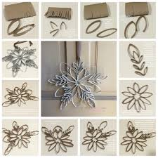make a snowflake from toilet paper rolls so easy and only takes