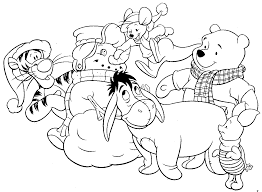 winnie the pooh and snowman coloring pages to print winter