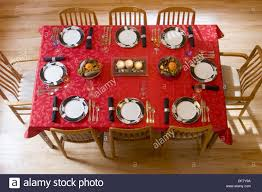 aerial view of a dining room table set for thanksgiving dinner