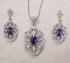 sapphire earrings necklace set images Sapphire diamond necklace earring set 14k white gold filigree jpg