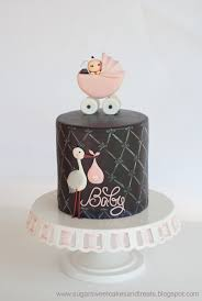 Gray And Pink Baby Shower Cake Cakecentral Com