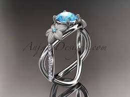 s birthstone ring 14kt white gold diamond leaf and vine birthstone ring blue topaz