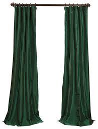 Silk Velvet Curtains Emerald Green Faux Silk Taffeta Curtain Single Panel Traditional