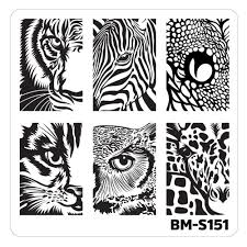 nail art stamping plates fuzzy and ferocious bm s151 wild eyes