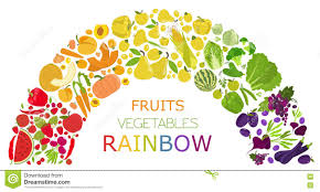 fruits and vegetables nutrition rainbow icon set stock vector