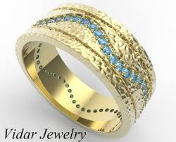 wedding ring designs gold men s hammered gold blue diamond wedding band vidar jewelry