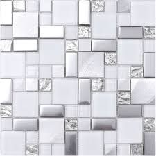 Awesome White Mosaic Backsplash Pictures Home Design Ideas - Gray backsplash tile
