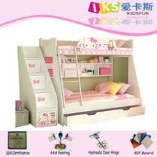 Kids Toddlers TwinOverTwin Wood Bunk Bed Childrens Bedroom - Hello kitty bunk beds
