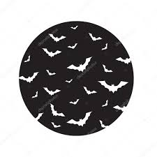 flying bats over moon vector silhouettes of bats vector