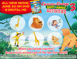 Curious George Curtains Matching Game Curious George 3 Back To The Jungle Now On Dvd And