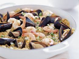 seafood thanksgiving recipes seafood paella with spinach and arugula recipe amaryll