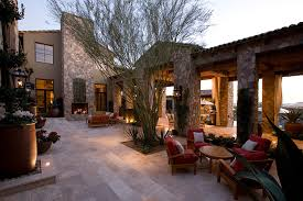 Desert Patio Ranch Hacienda With Desert Patio Mediterranean And Polyester