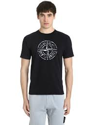 casual professional island logo printed cotton jersey t shirt black clothing