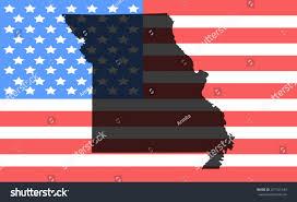 Misouri Flag Missouri Map On Vintage American Flag Stock Vector 257101243