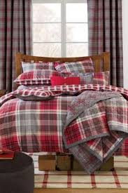 Red And Grey Comforter Add Rustic Cabin Charm To Your Bedroom With This Woolrich White