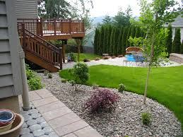 simple backyard designs stone hanging planter wood outdoor