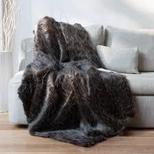 plaids fausse fourrure pour canapé plaid fausse fourrure autruche noir blanc 140x180cm home