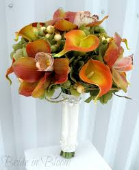 orchid bouquet orchid calla silk wedding bouquet in bloom
