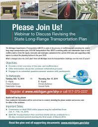 webinar to discuss revising the state long range transportation
