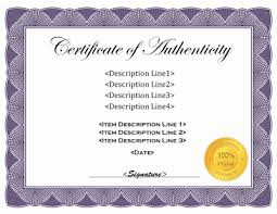 Certificate Of Authenticity Template certificate of authenticity template