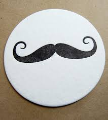 mustache letterpress drink coaster set features art letterpress