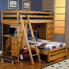 Bedroom  Wood Bunk Bed With Desk Brick Pillows Table Lamps Wood - The brick bunk beds