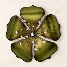 Home Decor Metal Wall Art Shimmering Gem Green Flower Metal Wall Art