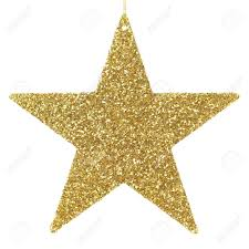 golden glittering star shaped christmas ornament isolated on