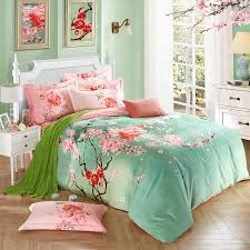 Country Style King Size Comforter Sets - mint green and pink peach blossom print oriental style asian