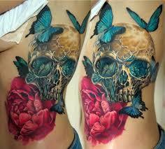 colorful skull tattoos by samarina