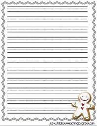 free lined printable writing paper with gingerbread border