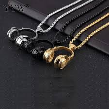 metal necklace men images Hip hop jewelry men necklace stainless steel music headphone jpg