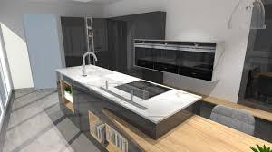 cuisine moderne avec ilot cuisine moderne avec îlot phénix gris anthracite et bois